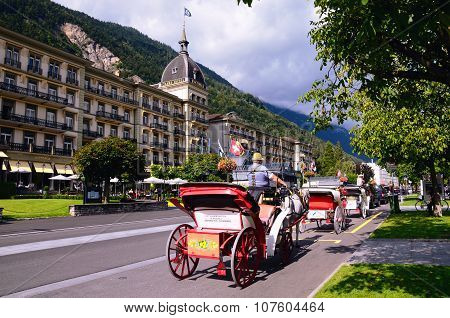 Swiss Tourist Town of Interlaken. Main Street with Grand Hotel Victoria