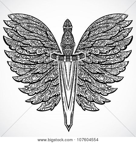 Medieval sword and ornate wings. Vintage floral highly detailed hand drawn illustration. Isolated el