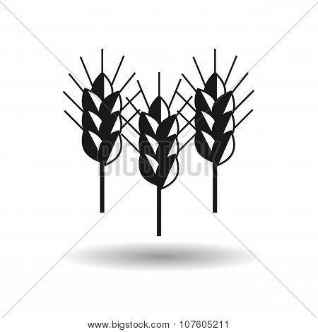 Spike Wheat Vector Black With Shadow