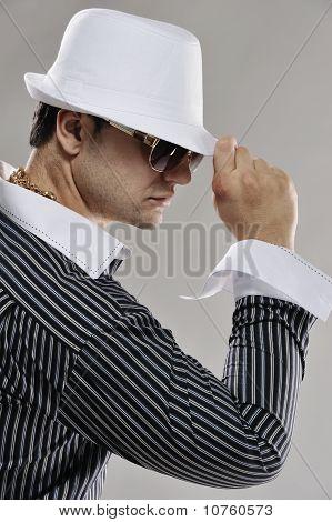 Handsome man in white hat
