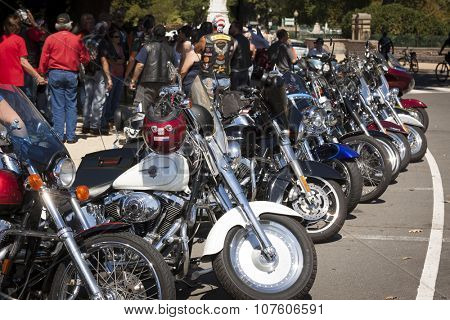 WASHINGTON DC - SEPT 11, 2015: Bikers park their motorcycles near the U.S. Capitol building and assemble during the annual 2 Million Bikers to DC Honor Ride commemorating the 9/11 terrorist attacks.