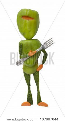 Funny Green Vegetable Ninja With Fork