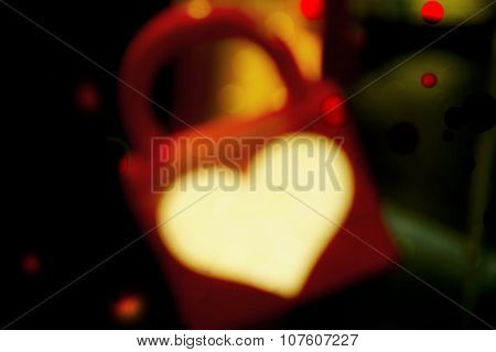 Heart Padlock, Valentines Day Holiday Abstract Background Photo Illustration.