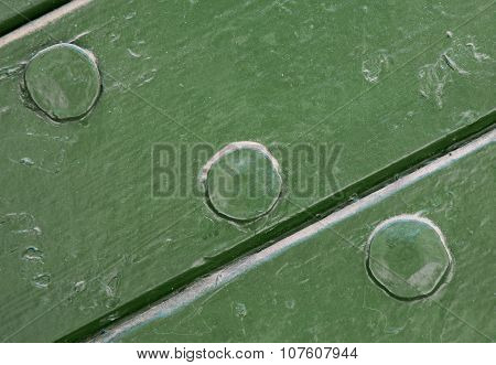 Green Painted Wood And Nail Texture Background