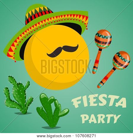 Mexican Fiesta Party Invitation with maracas, sombrero, cactuses and mustache. Hand drawn vector ill