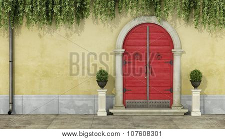 Classic Facade With Red Doorway
