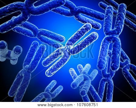 X chromosome on abstract blue background