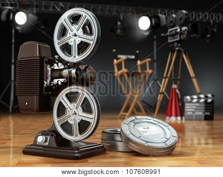 Video, movie, cinema concept. Vintage projector, retro camera, reels, clapperboard and director chair. 3d