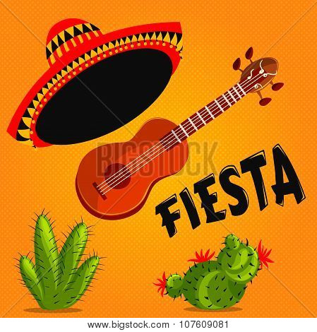 Mexican Fiesta Party Invitation with mexican guitar, sombrero and cactuses. Hand drawn vector illust
