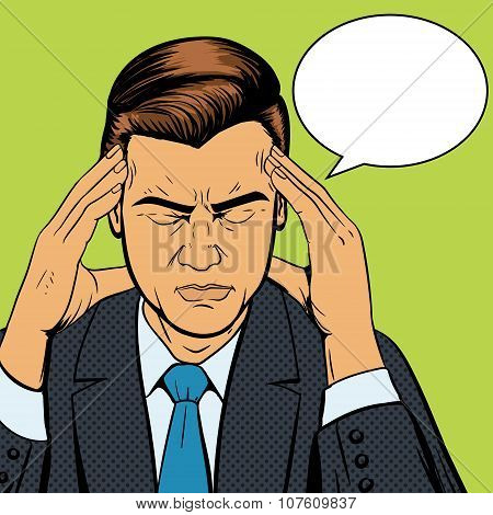 Man suffering headache pop art retro vector