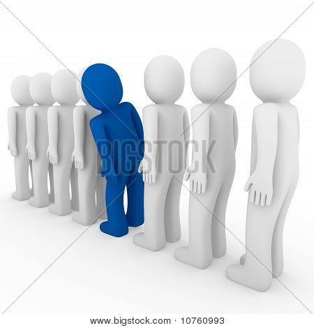 3D Human Stand Crowd Blue
