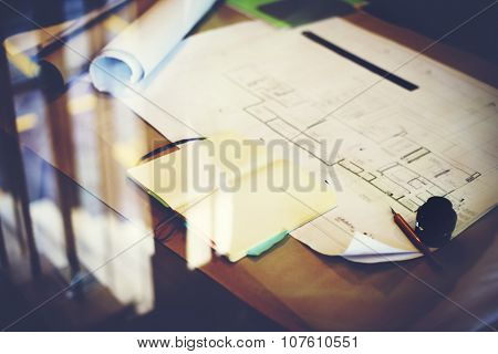 Construction Blueprint Project Working Planning Concept, blurred