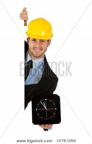 Caucasian Businessman, Wall Clock.