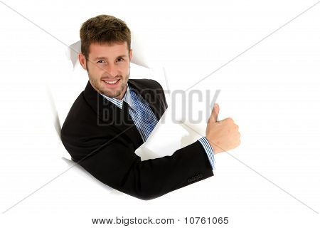 Young Caucasian Businessman, Thumb Up