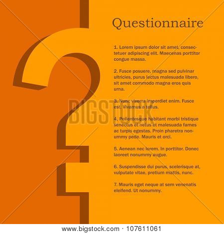 Orange and yellow questionnaire flat design vector template with copy space.