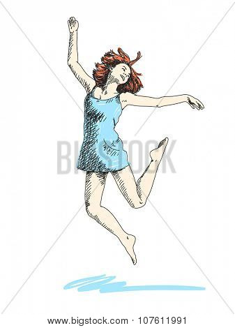 Sketch of dancing woman Hand drawn vector illustration