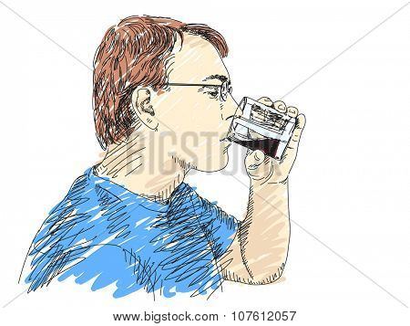 Hand drawn Man drinking juice Isolated illustration Vector sketch