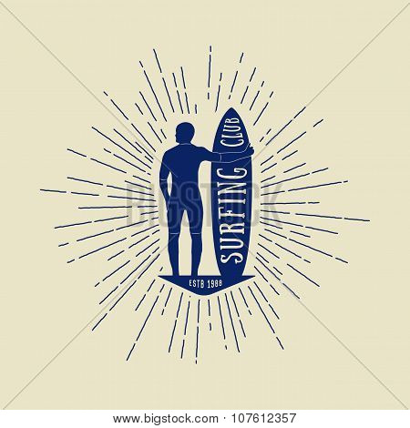 Vintage Surfing Logo, Emblem, Badge, Label And Watermark With Man, Board And Sunbursts