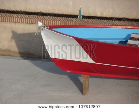 Prow Of Wooden Racing Boat With Ten Seats Under Repair In Dry Dock In Livorno, Tuscany, Italy
