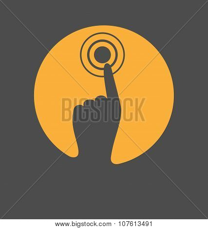 Icon With Hand Finger Press On Touchscreen Isolated On Gray