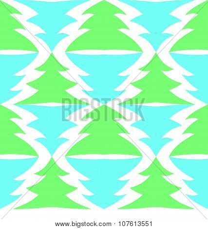 Seamless Multicolored Spruces Isolated On White