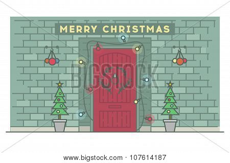 Christmas illustration. Tree, bslls and other elements. Stock vector.