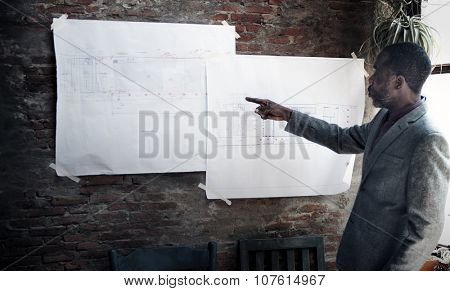 Businessman Architect Blueprint Presentation Working Concept