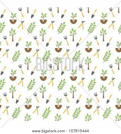 Gardening Seamless Pattern Isolated On White