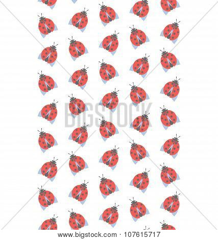 Spring Seamless Pattern With Ladybugs Isolated On White