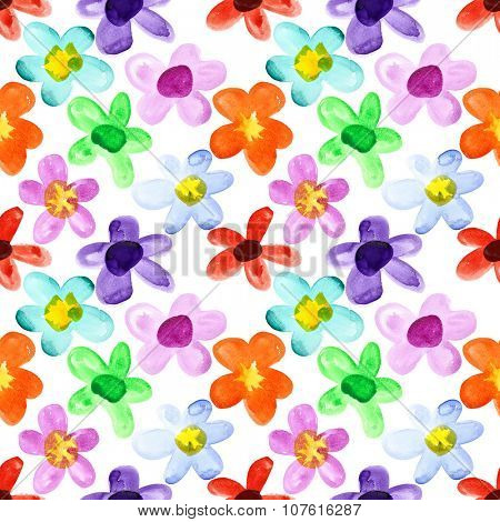 Watercolor flowers - multicoloured seamless floral pattern