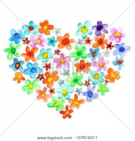 Heart of lots watercolor flowers - valentine card and love concept