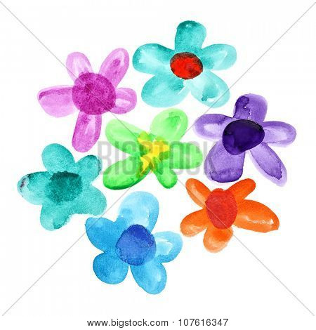 Bunch of multicoloured watercolor flowers isolated over the white background