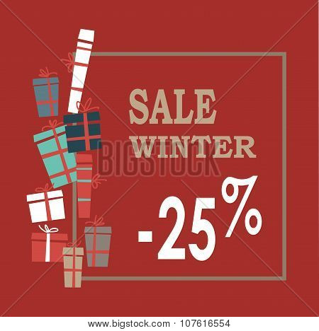 Winter sale background with beige letters,gifts and snowflakes.  Vector illustration