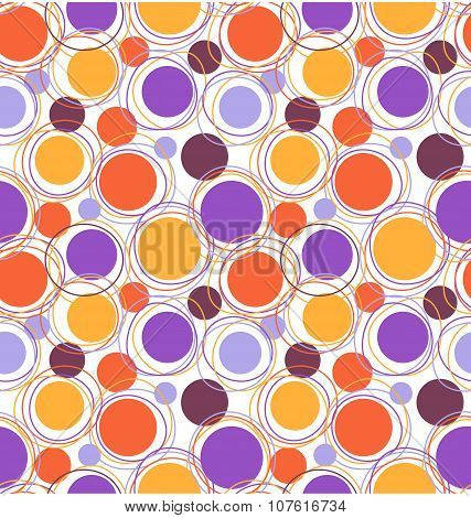 Seamless Bright Fun Abstract Pattern With Circles Isolated On Wh