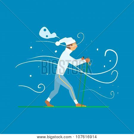 Man Skiing with Sticks. Vector Illustration