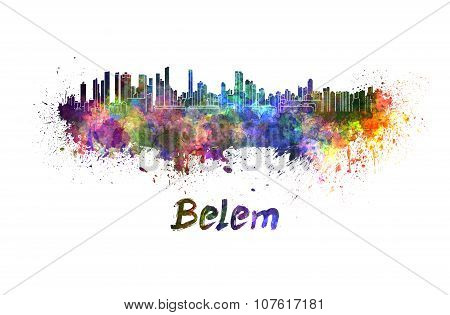 Belem Skyline In Watercolor