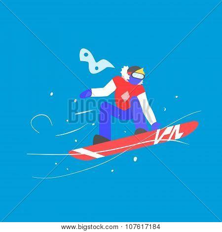 Man Snowboarding. Winter Vector Illustration