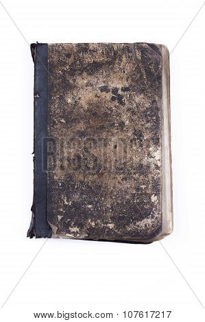 Old vintage tattered book lock with chain isolated white background