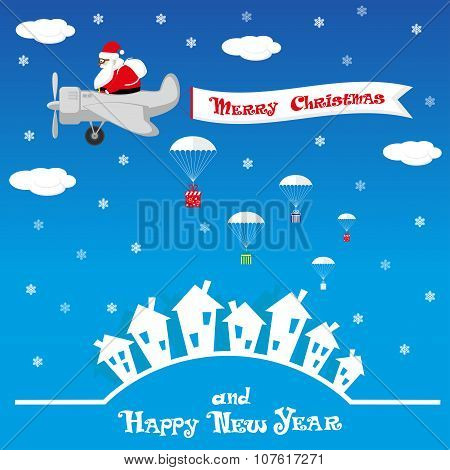 Vector Banner Funny Santa Claus As Pilot On Blue Background