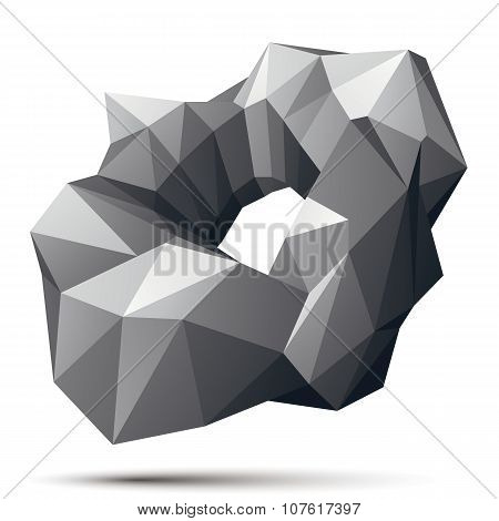 Vector Complicated 3D Figure, Modern Digital Technology Style Form. Abstract Gray 3d