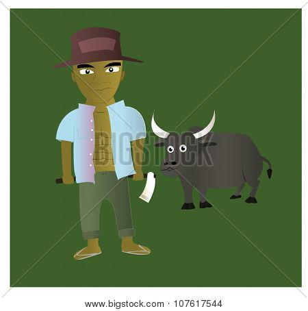 farmer and buffalo