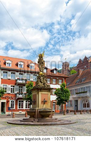 Statue of Madonna Mary and Jesus in town square.  Heidelberg, Germany