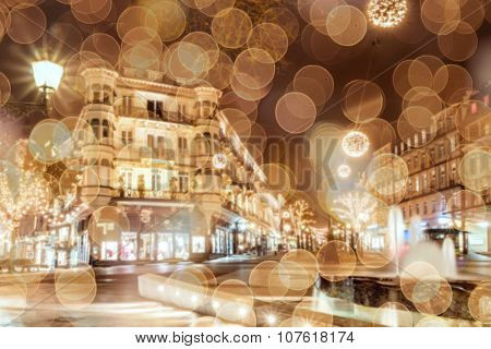 Historic center of Baden-Baden with Christmas lighting.  Blur background.