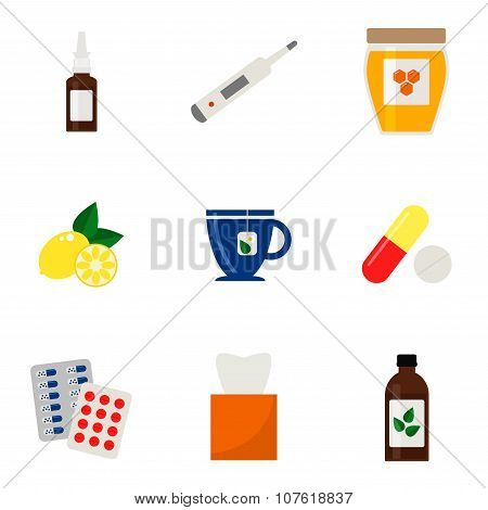 Flu icons set. Colorful medical icons on white background.