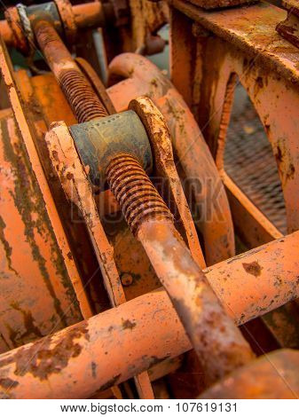close up on scraped rusted gear