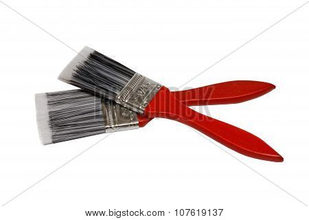 Two Paintbrushes With Red Handles
