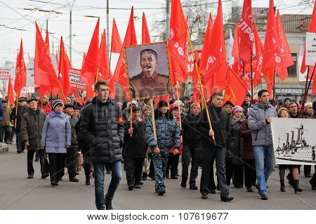 Orel, Russia - November 7, 2015: Communist Party Meeting. People Go On The Street With Red Flags And