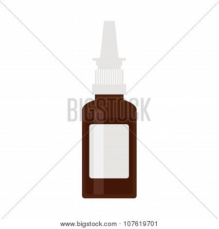 Nasal spray bottle. Brown plastic spray icon on white background.