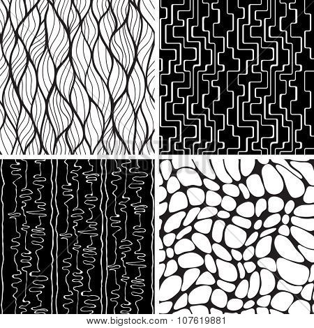 Set of black and white seamless backgrounds. Stylish pattern with curves lines, waves and blobs. Geometric ornaments.