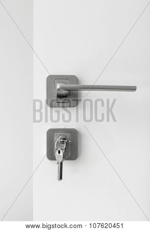 Set of lock and handle on the white door